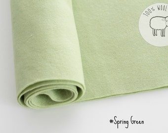"100% wool felt  fabric in Spring Green, pure wool felt band 20cm by 91cm (9"" x 36""), 1 - 1,5mm - Ships from Ireland"