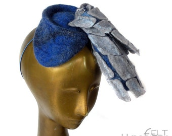 Blue Fascinator for Kentucky Derby - Mother of the Bride Hat - Asymmetrical Wearable Art - Angular Geometric Grid - Racing Fashion Hat