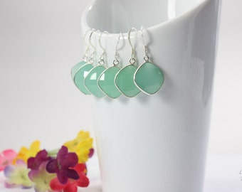 9 Bridesmaid Green Gemstone Earrings, Bridesmaid Earrings, Bridesmaid Gift, Seafoam Green, Silver Chalcedony Earrings, Teardrop, Heart