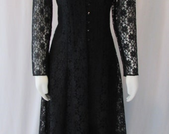 Vintage Black Lace Long Laceup Dress & Slip made in USA