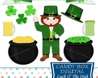 St Patricks Day Leprechaun and Shamrock Clipart, Irish Clip Art - Commercial Use OK