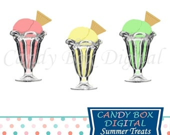 Ice Cream Clipart, Retro Sundae Clip Art, Summer Clipart - Commercial Use OK