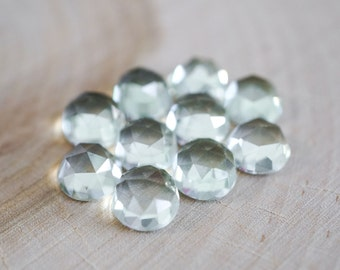 8mm Green Amethyst faceted cabochon. rose cut pale green light green gemstone