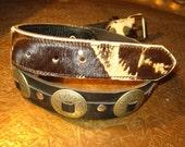 Vintage Cowhide Fur Leather Concho Belt RARE biker punk RNR As FCK