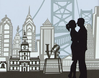 NEW! Papercut Ketubah - Philadelphia / Personalized Silhouettes / Jewish Wedding - Eco-friendly