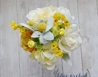 Yellow Bridesmaid Bouquet, Silk Bouquet, Yellow Bouquet, Rustic Flowers, Rustic Wedding, Dusty Miller, Rose, Ranunculus, Bouquet Package