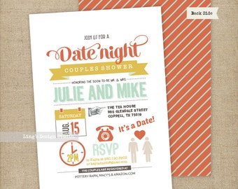 Date Night Themed Couples Shower Invitation/ Bridal Shower Invitation | Printable