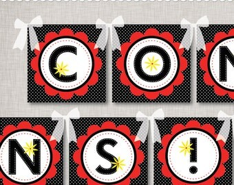 Congratulations Banner INSTANT DOWNLOAD Printable PDF in Red Flower Black Dot