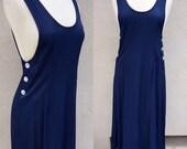 Vintage Navy Blue Dress, Mid Length Dress, Strapless Navy Dress, 80s 90s Grunge