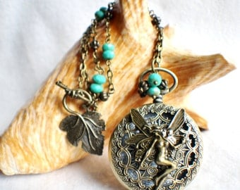 Fairy watch pendant, pocket watch with fairy mounted on front cover.