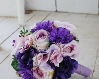 Silk bridal bouquet, purple roses, gerbera daisies, lavender hydrangeas