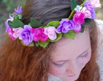 Flower crown pink, purple mini wild roses