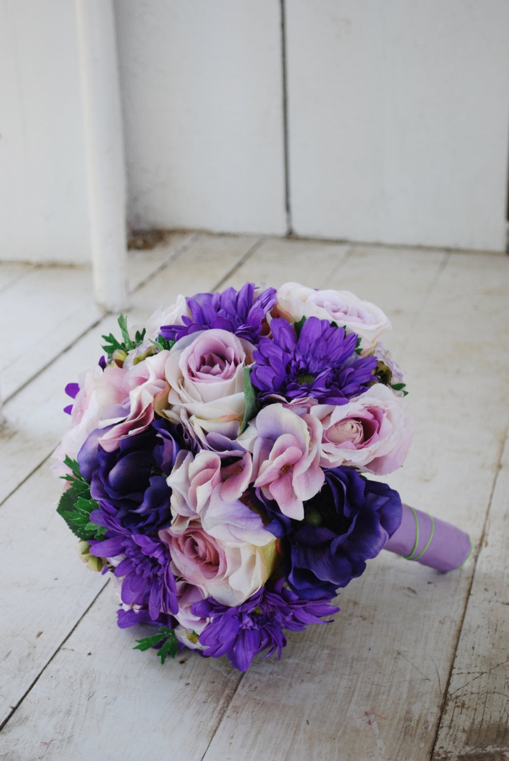 Wedding Bouquet Of Gerbera Daisies : Silk bridal bouquet purple roses gerbera daisies lavender
