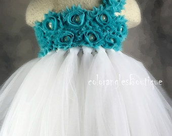 Tutu Flower Girl Dress White Turquoise flower girl dress baby dress toddler birthday dress wedding dress 0-8t