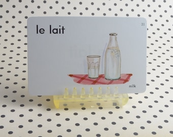 "Vintage 1962 ""Milk"" Picture & Word Flash Card, Choice of English (milk), French (le lait) or Spanish (la leche), Whitman Publ, Racine, WI"