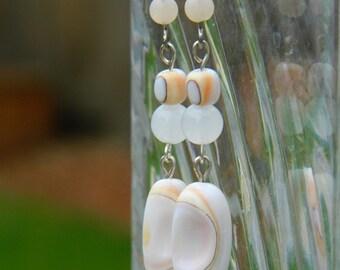 Mosaic Shell Dangle Earrings - Pastel Pink, Cream and Orange, Gemstones, Beach, Summer