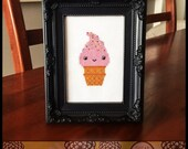 Strawberry Ice Cream Cone Cross Stitch Pattern (Printable PDF) - Immediate Download from Etsy - Cute Kawaii SugarStitch