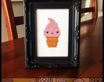 Strawberry Ice Cream Cone Cross Stitch Pattern (Printable PDF) - Immediate Download from Etsy - Cute Kawaii SugarStitch