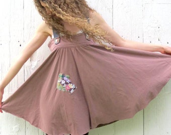 Trapeze dress - upcycled clothing for women - funky mori girl clothes gypsy patchwork dress - one of a kind size Large repurposed jumper