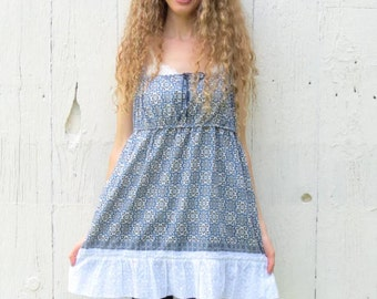 Babydoll Tunic Tank Top , Upcycled shirt , artsy size Large XL anthropologie inspired blouse , blue eco chic gypsy bohemian clothing