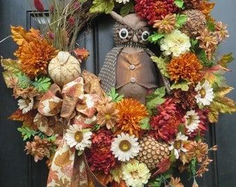 Owl Wreaths, Fall Door Wreath, Front Door Wreaths, Door Wreath, Front Door Decor, Thanksgiving Wreaths, Fall Door Decor, Door Wreaths