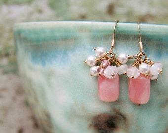 Rose Earrings: Dainty, delicate pink Peruvian opal earrings crowned w pearls, pink tourmaline & moonstone dangle on 14k gold filled ear wire