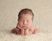 Organic Woven Headband, Baby Photo Prop, Linen Rosebud Halo, Natural Newborn Headband, 3 Designs, RTS