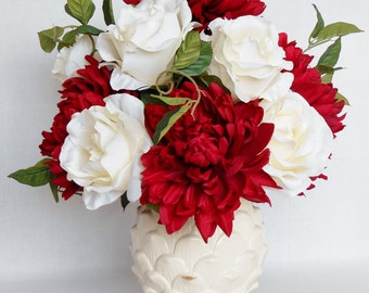 Artificial Flower Arrangement, Red Dahlias, Cream Roses, Cream Artichoke Vase, Silk Flower Arrangement, Silk Floral Arrangement, Decor,