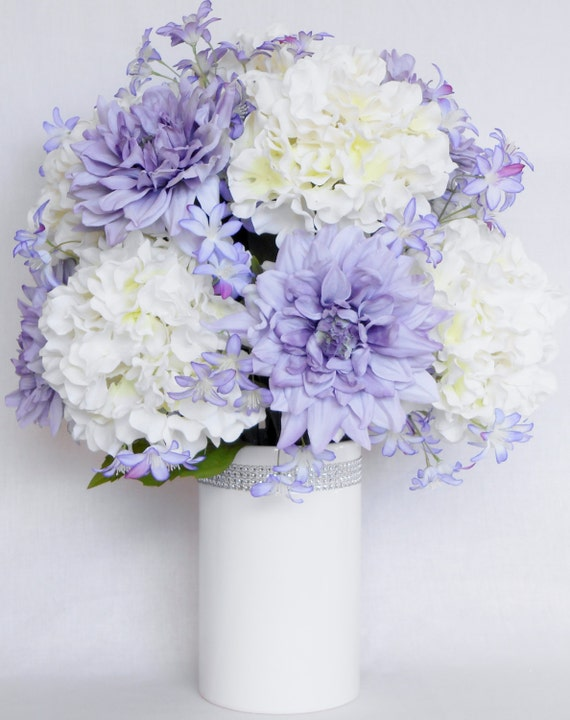 Artificial Flower Arrangement Lavender Dahlias White