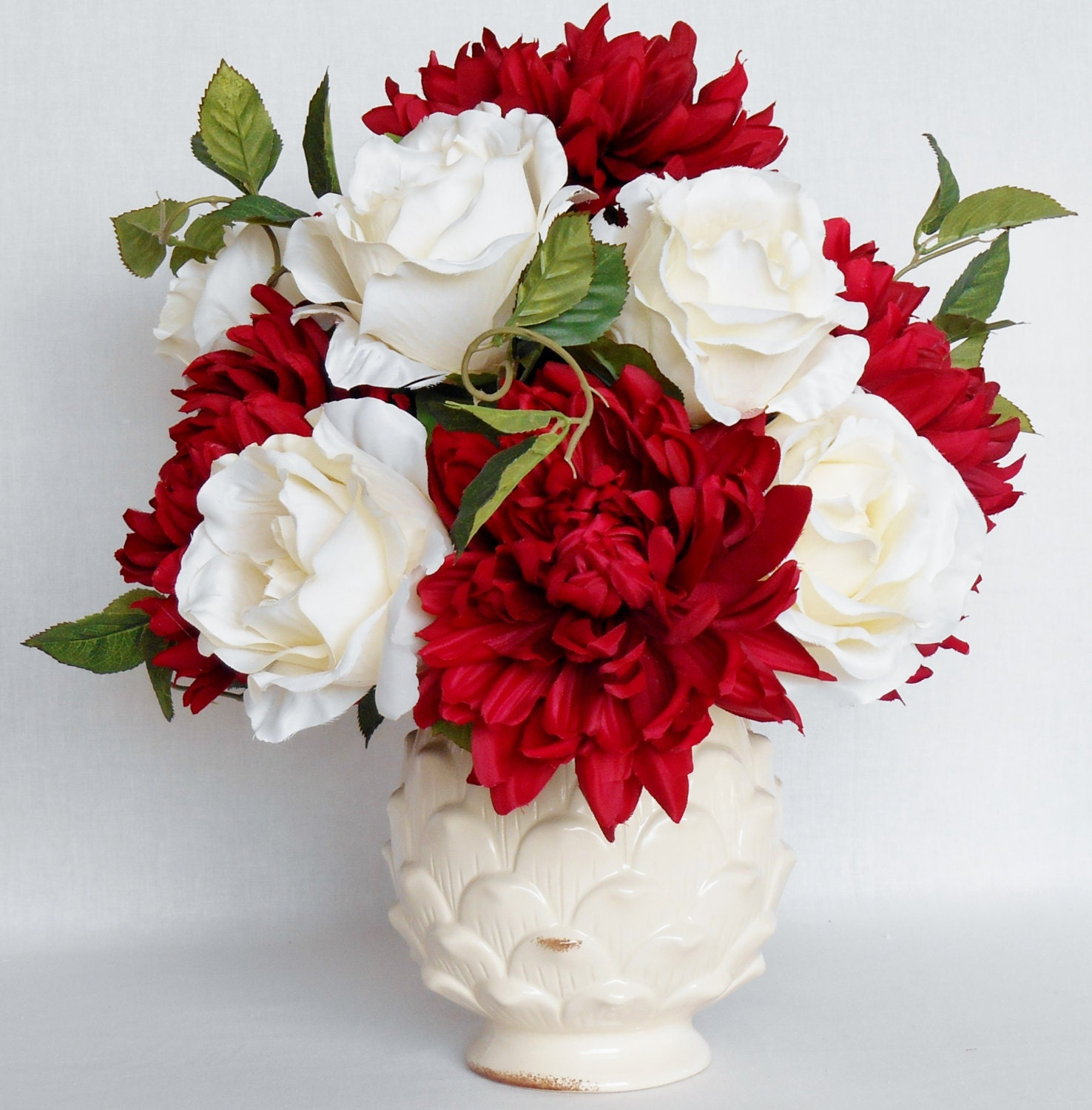 Artificial Flower Arrangement Red Dahlias Cream Roses Cream