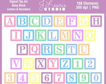 Digital Alphabet Letters Clipart-Baby Block Letters-Baby Blocks-Pastel-Numbers-Alphas-Scrapbook-Cards-Invitations-Instant Download Clip Art