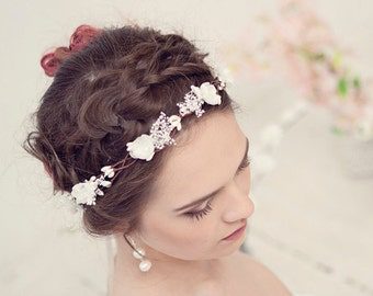 Ivory flower crown, Bridal headpiece, Woodland wedding hair accessories, Floral headband, Wreath, Baby breath wedding