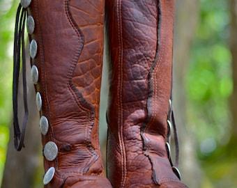 Kurt Russell Action Boots - Custom Buffalo Moccasins - Men's Leather Boots - Men's Custom Moccasins  - Action Moccasins - Stealth - LARP