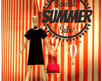 Summer Sale Sun Shop Window decal easy to paste or remove - shop window display - ask us for custom decals (ID: 131058)