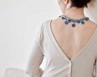Crochet Necklace, Silk Necklace, Blue Flower Boho Necklace, Shiny Beaded Oya Necklace, Gray Blue Flowers, Crochet Jewelry, ReddApple