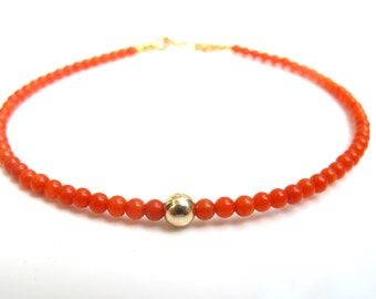 Natural orange coral beads 14k solid gold bracelet small bead yellow gold