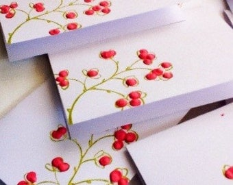 Hand made cards:  Mini Cards - Cherry Blooms - Pink - Mini Envelopes - Dimensional - set of 10 with envelopes - handmade - thank you cards