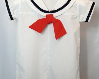 Vintage Sailor Suit Romper in White with Navy trim and Red tie- New, never worn