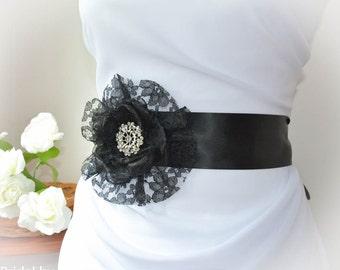 Black Wedding Sash - Black Floral Sash - Black Wedding Dress Sash - Black Flower Sash - Black Wedding Sash
