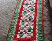 "Country Christmas quilt table runner-17"" wide by 64"" long, great condition"