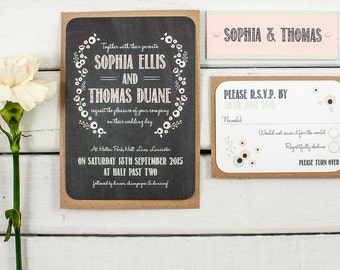 Wedding Invitations - Pastel Floral Chalkboard
