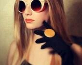 Ivory Cateye Sunglasses, Pearl Star Cat Eye Festival Sunglasses, Iridescent Cream Retro Round Cateyes, Made to Order, Burning Man