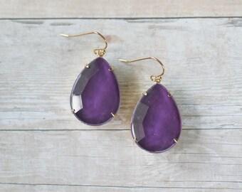 Deep Purple Teardrop Earrings, Purple Statement Earrings, Purple Bridesmaid Earrings