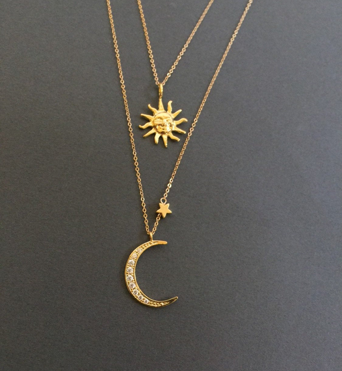Sun and Crescent Moon Necklace Double Layered Necklace 18k