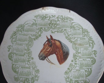 Rare antique 1909 Promotional Calendar Plate from Morris Peters Co. of Port Clinton, Ohio