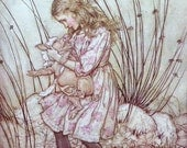 1907 ALICE in WONDERLAND and a Piglet Arthur RACKHAM Doublesided Print Ideal for Framing
