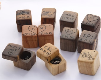 Mini Wedding Ring Box- Valentines Engagement Ring Box- Rustic Wood - Personalized Ring Bearer Box- Rustic Wedding - Special Proposal Box