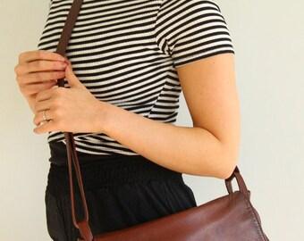 Vintage Leather Messenger Crossbody Handbag Boho Adjustable Handcrafted