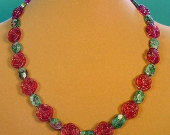 Gorgeous Ruby Zosite and Violet Roses Necklace - N422,423