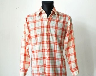 70s plaid mens shirt. tangerine and white checked shirt. men's skinny fit shirt with pointy collar - small to medium